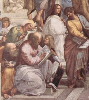 ラファエロ、「アテネの学堂」の一部